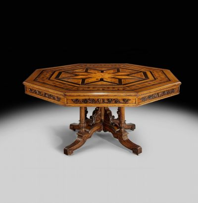 A superb 19th century oak & parquetry veneered top Centre Table