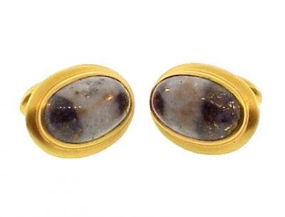 Victorian 14K Gold & Gold-In-Quartz Cufflinks