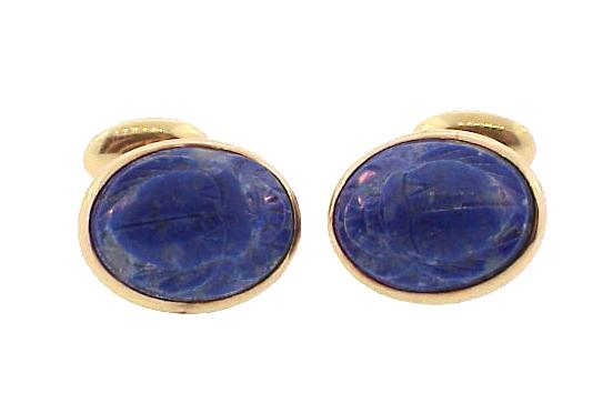 14K Gold Lapis Lazuli Egyptian Revival Scarab Cufflinks