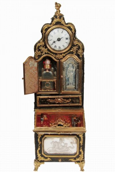 8 14 inch Necessaire cabinet designed as a miniature secretaire made in London with watch inset by J. Weldon.