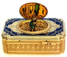 Gold and Enamel Singing Bird Box by Jacques Brugier C1870