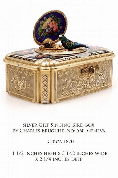 Silver Gilt Singing Bird Box by Charles Bruguier No: 560