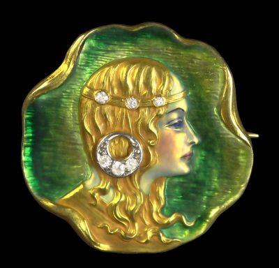 18k enameled portrait brooch