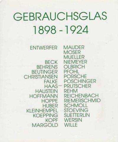 Gebrauchsglas 1898 - 1924. Entwerfer Beck