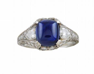 Rare Pailin Sapphire and Diamond Antique Ring