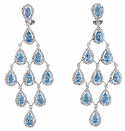 Dazzling Aquamarine and Diamond Earrings