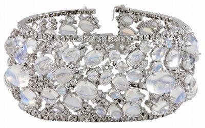 Exquisite Diamond and Moonstone Bracelet