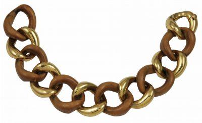 SEAMAN SCHEPPS Gold and Wood Bracelet