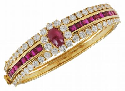 Exquisite Burma Ruby and Diamond Bangle