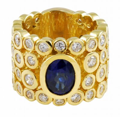 Bold Sapphire and Diamond Ring