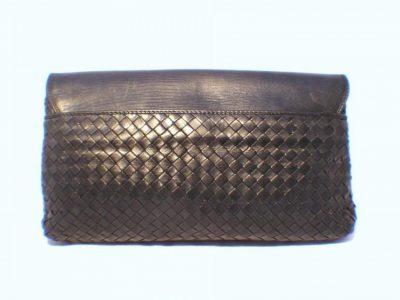 Black Woven Leather Bottega Venetta Clutch