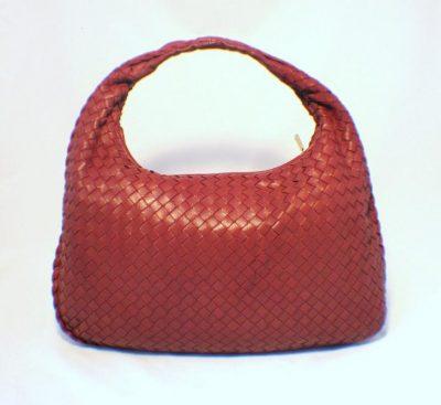 Bottega Veneta Red Woven Leather Shoulder Bag