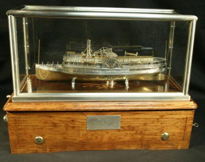 Solid Silver & Gilt Steamship Music Box Ship Model Passenger Ship LAURA