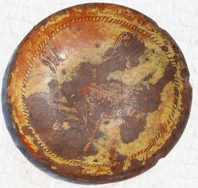 Important Sgraffito Decorated Redware Plate