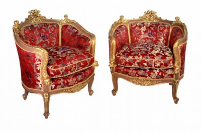 Giltwood Grand Bergeres Chairs