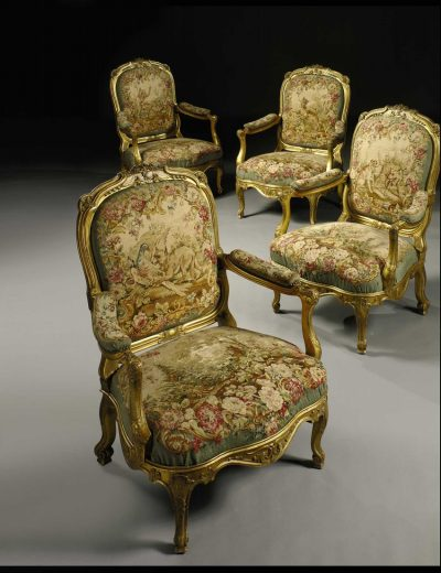 Louis XV Style Tapestry Bergeres