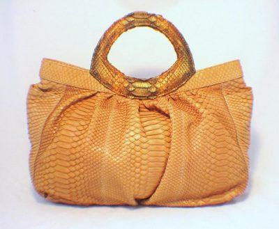 Lai Chic Pumkin Python Handbag