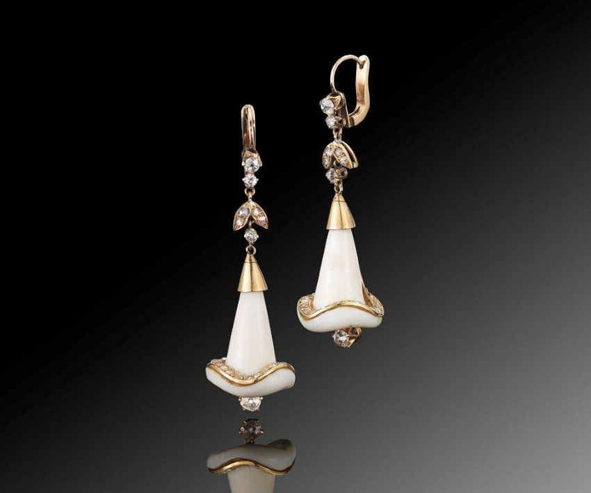 Carved ivory diamond Calla Lily pendant earrings