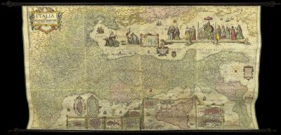 Unrecorded example of Matteo Greuter's monumental wall map of Italy.