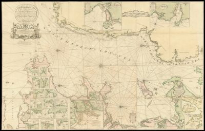 A fine and rare chart of St George's Channel.