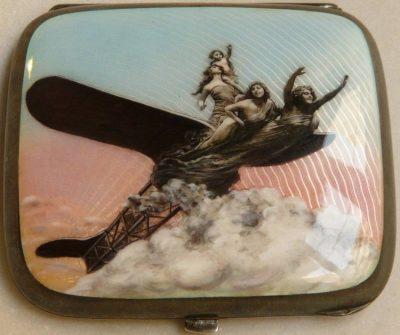 Valerio Airplane on Silver Cigarette Case