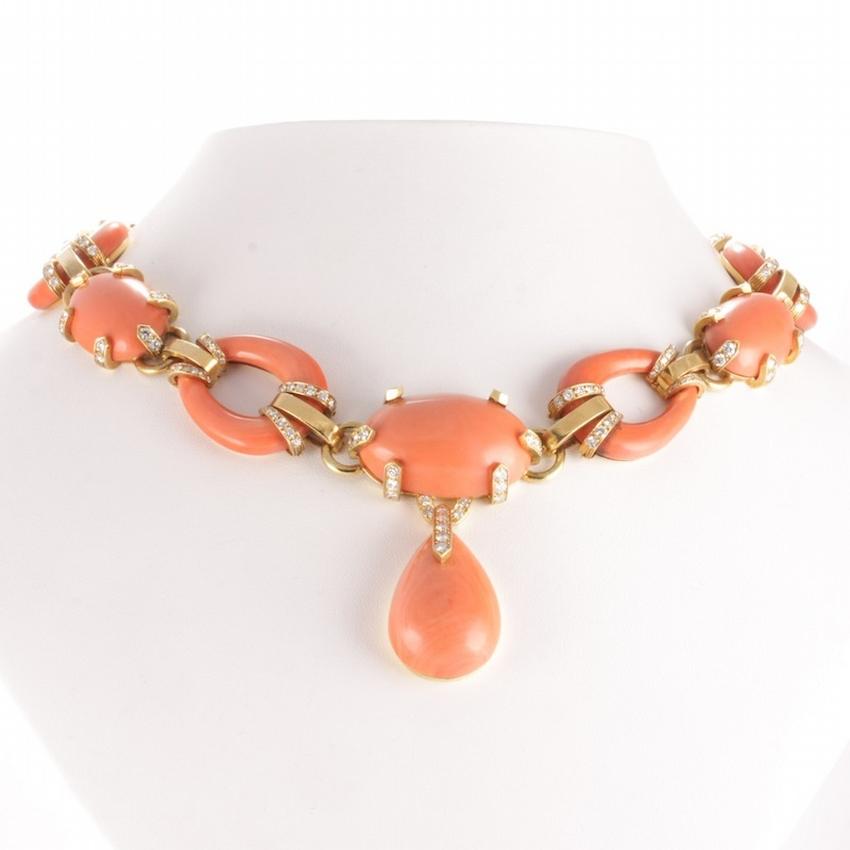 David Webb 18k Gold Diamond & Natural Coral Necklace