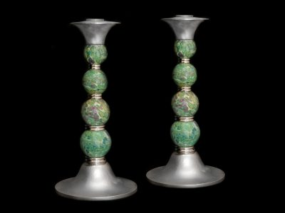 Ruby Zoisite Candlesticks