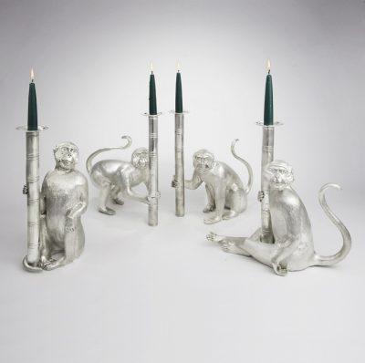 Silver Monkey Candlesticks