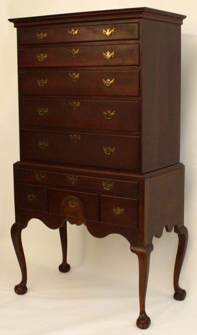 NEW ENGLAND CHIPPENDALE FLAT-TOP HIGH BOY
