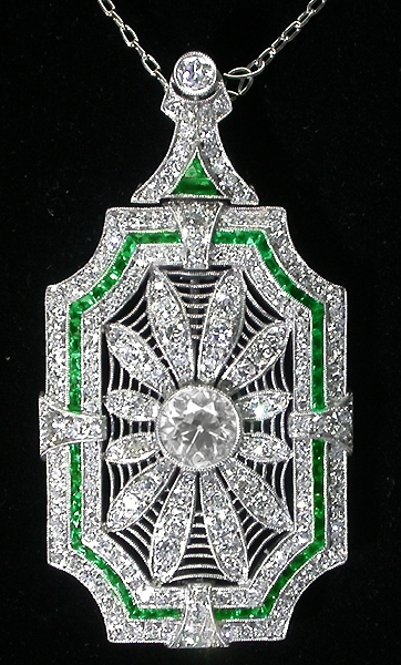 Art Deco 5ct Diamond & Emerald Platinum Pin/ Pendant Necklace