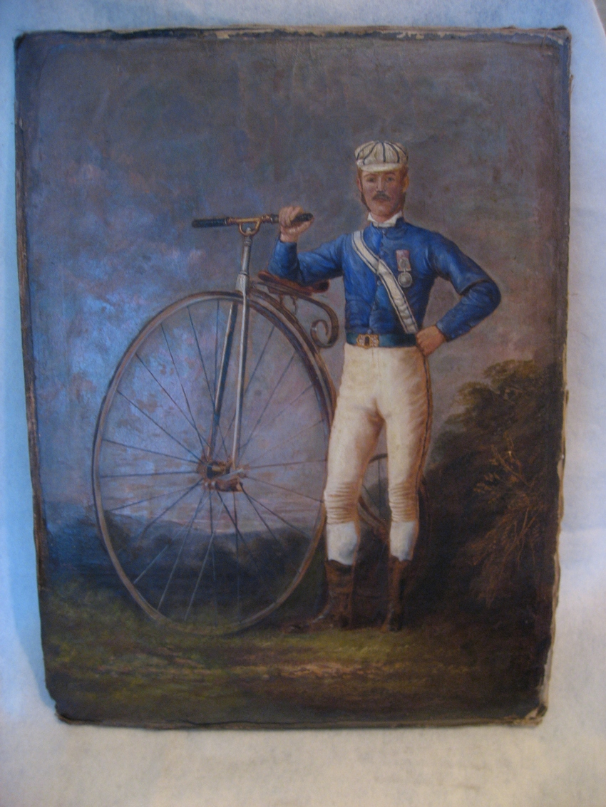 Early British Victorian Bicyclist Oil c.1885
