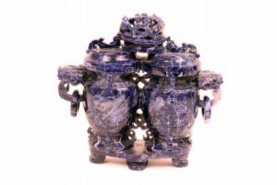 Sodalite Conjoined Lidded Vases