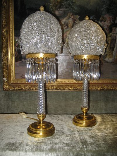 Pair of Magnificent crystal and bronze lamps