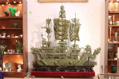 Chinese Carved Serpentine Ship