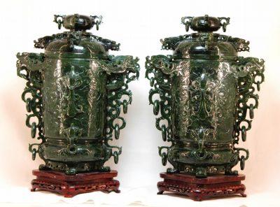 Fine Pair of Jade Vases