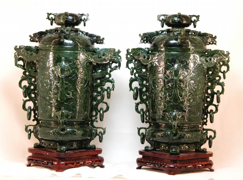 Fine Pair of Jade Vases