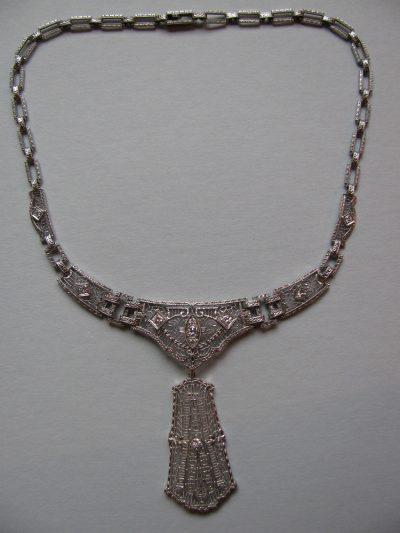 Platinum on 14k filigree diamond necklace