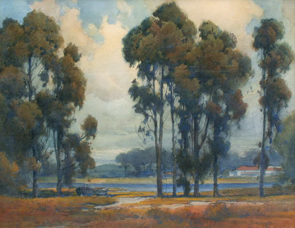 Gray – Eucalypti w-Ranch House by a River 15.5×19.5 8019